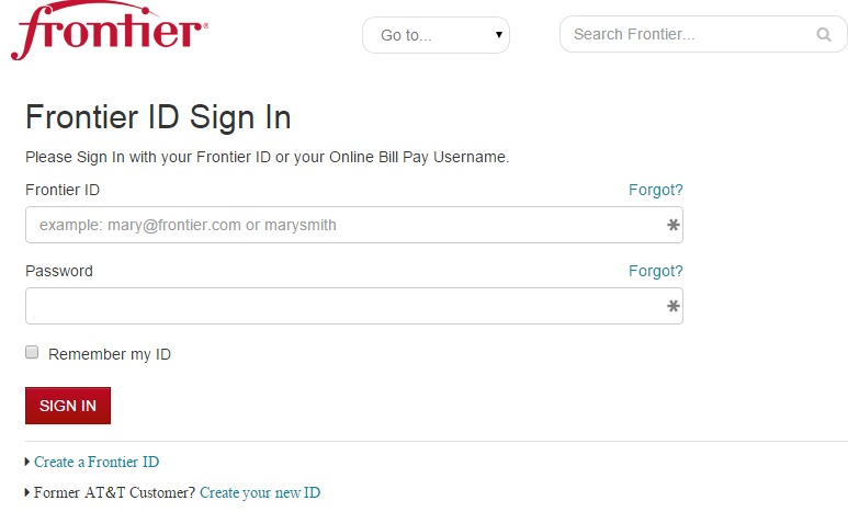 Pay Frontier Bills online by Login