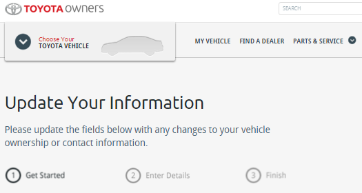 Toyota Ownership or Contact Information Online
