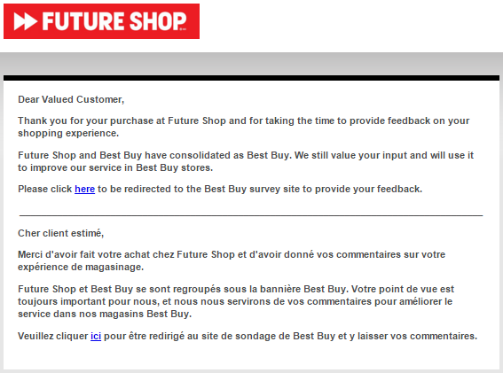 Future Shop's Feedback Survey Canada