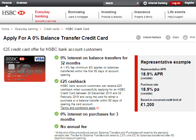 Hsbc.co.uk website