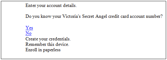 Victoria's secret payment login