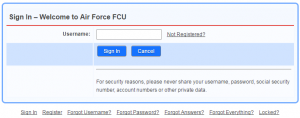AFFCU Login Page Image