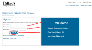 Dillard's card services login page image